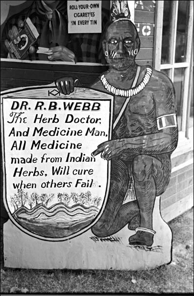 Russell Lee 1938 Medicine sign, Pine Bluff, Arkansas.