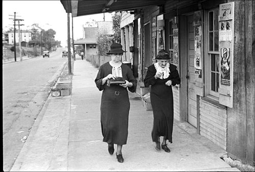 South Ben Shahn Two women walking along street, Natchez, Mississippi