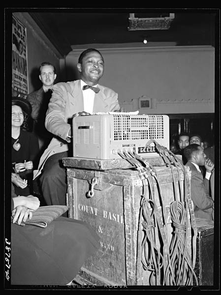 Russell Lee Sound effects man of orchestra at Savoy Ball Room. Chicago, Illinois