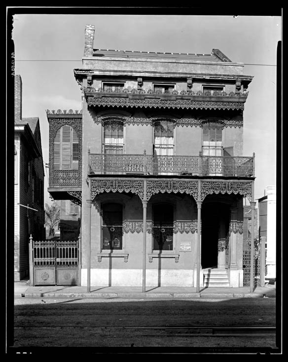 Walker Evans New Orleans architecture Cast iron grillwork house near Lee Circle on Saint Charles Avenue