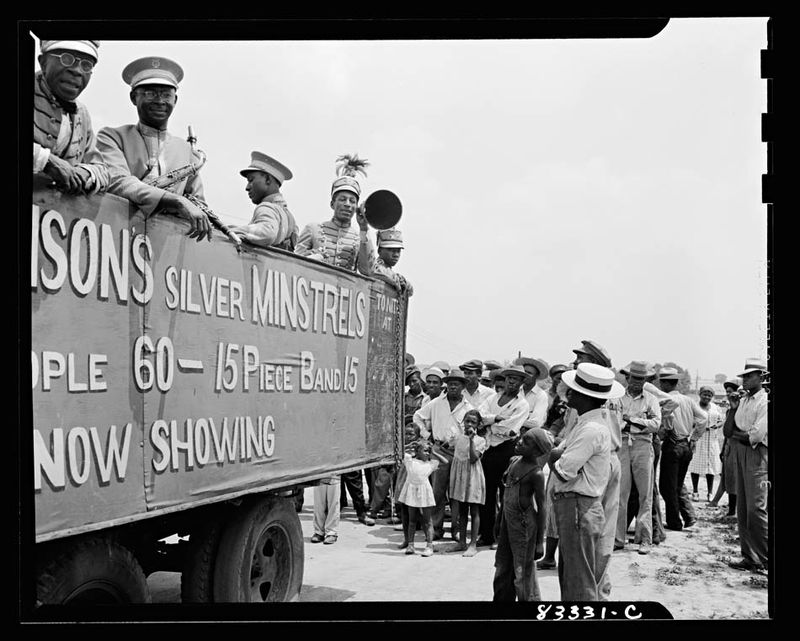 John Collier Bridgeton, New Jersey. FSA camp. Colored minstrels advertising their show