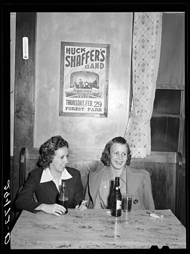 Arthur Rothstein Girls in beer parlor adjoining dance hall. Marshalltown, Iowa