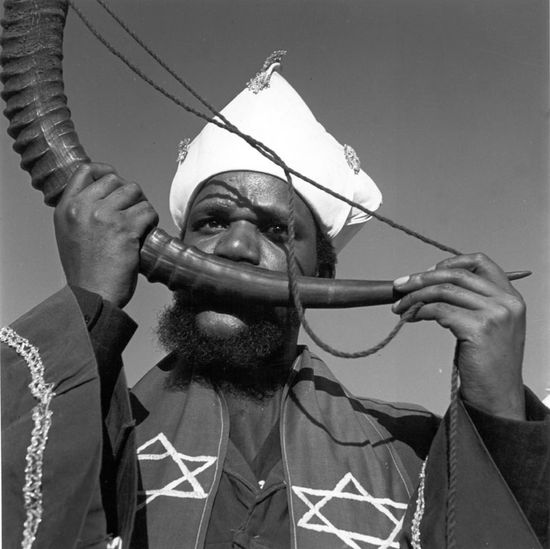 Constance Stuart Larrabee Man Playing Rams Horn Vuvuzela 1946