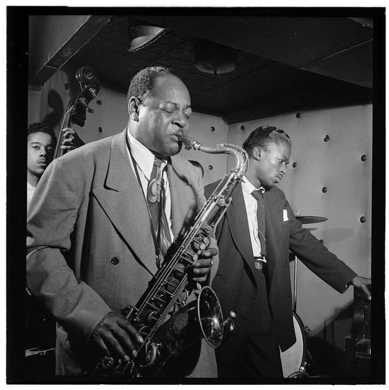 William Gottlieb Portrait of Coleman Hawkins and Miles Davis Three Deuces New York NY ca July 1947