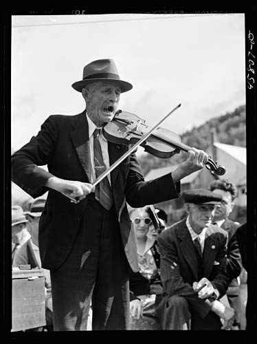 Jack Delano Fiddler (Mr. Ed. Lorkin) for the square dances at the World's Fair at Tunbridge, Vermont