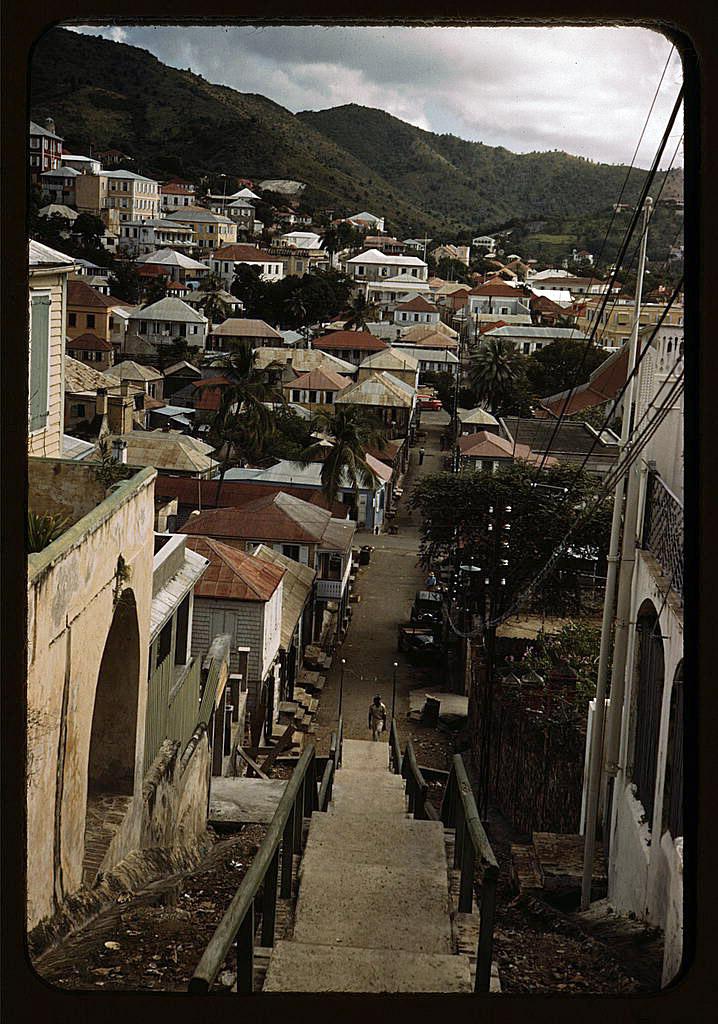 Delano One of the steep hillside streets Charlotte Amalie St Thomas Virgin Islands 1941