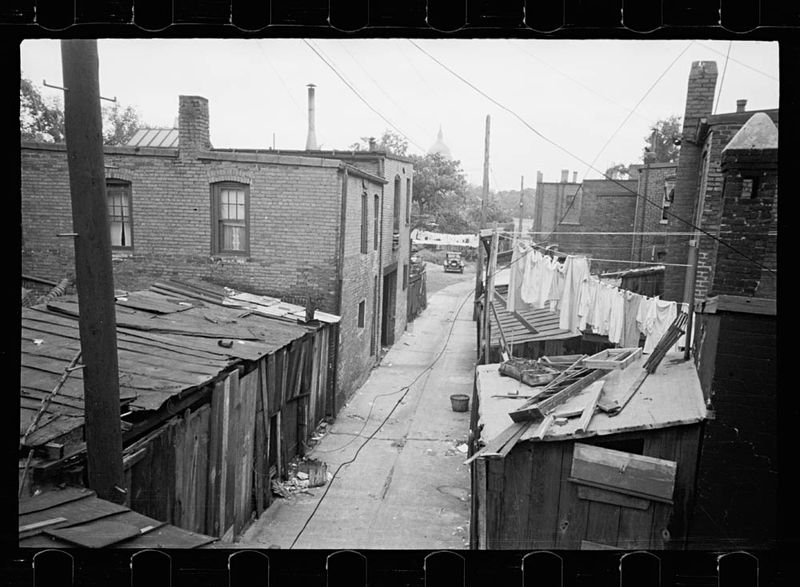 Carl Mydans Alleyway inhabited by black and white near the Capitol Washington DC 1935