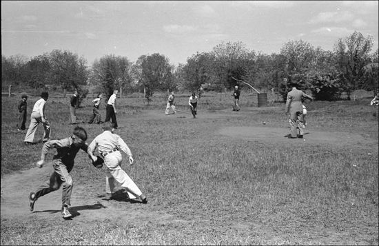 Russell Lee Baseball game at recess San Augustine grade school San Augustine Texas 1939
