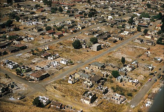 Eliot Elisofon Aerial view of Anglican Church of Christ the King Sophiatown Johannesburg South Africa 1959 05