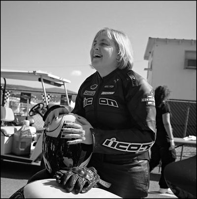 08 Kim Laughs on Bike