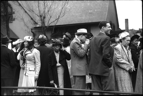 Edwin Rosskam Crowd outside of fashionable Negro church after Easter Sunday service Black Belt Chicago Illinois 1941