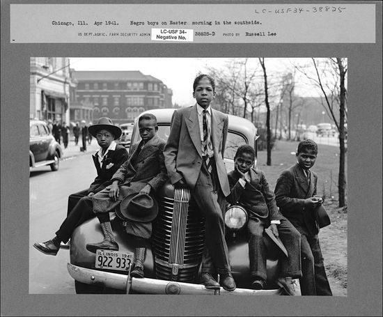 Russell Lee Negro boys on Easter morning Southside Chicago Illinois 1941
