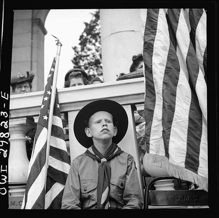 Bubley Arlington Cemetery Arlington Virginia Boy scout color bearer listening to the Memorial Day ceremony 1943