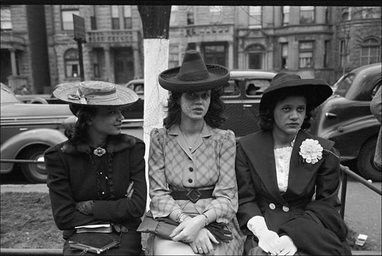 Russell Lee Girls waiting for Episcopal Church to end so they can see the processional South Side of Chicago Illinois 1941