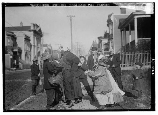 Thanksgiving Maskers Catching Pennies Bain News Service c 1910 1915 05