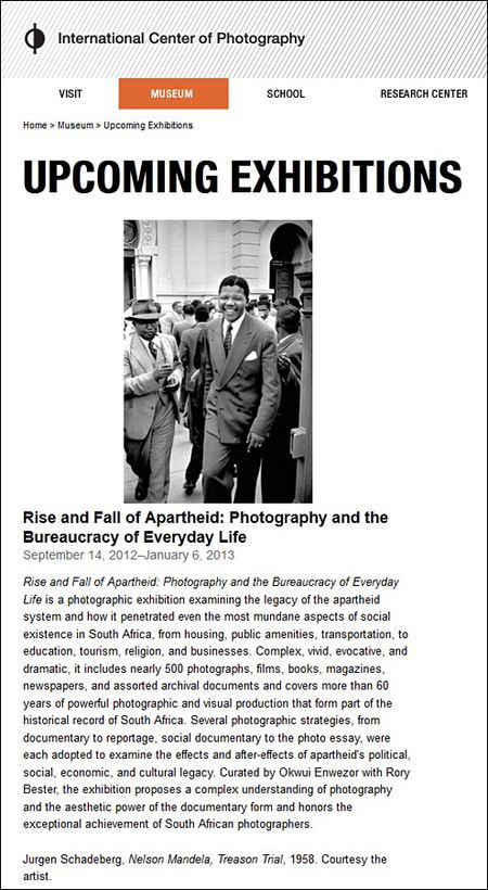 International Center Photography South Africa Photography Rise Fall Apartheid 2012