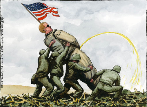 Steve Bell Iwo Jima Rosenthal cartoon