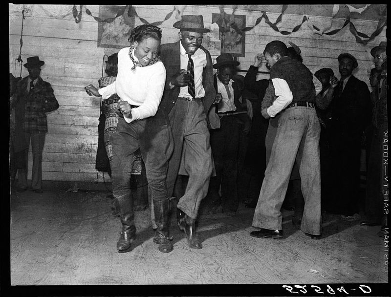 Marion Post Wolcott Jitterbugging in Negro juke joint Saturday evening outside Clarksdale Mississippi 1939 sml