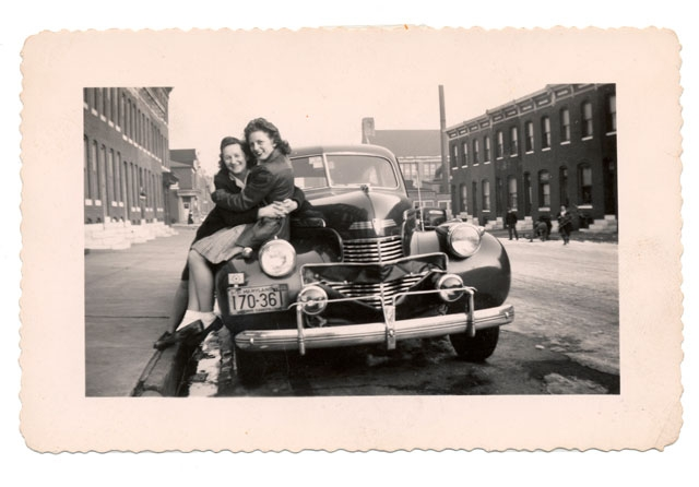 Unidentified Photographer Two Women Hugging Seated on Left Side of Car with Maryland 1951 License Plate