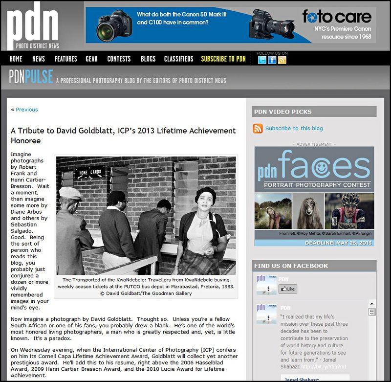 Goldblatt ICP Infinity Award PDN Mason