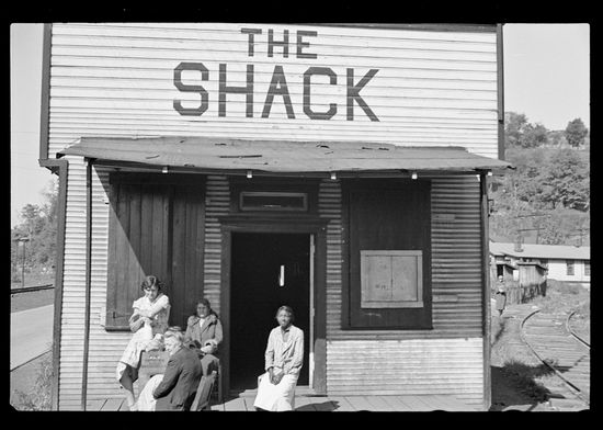 Ben Shahn FSA The Shack a one time church Relief clients wait for hours Scotts Run West Virginia 1935-3