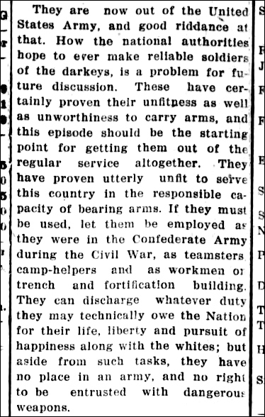 Daily Progress No Darky Soldiers Aug 27 1917 p 4