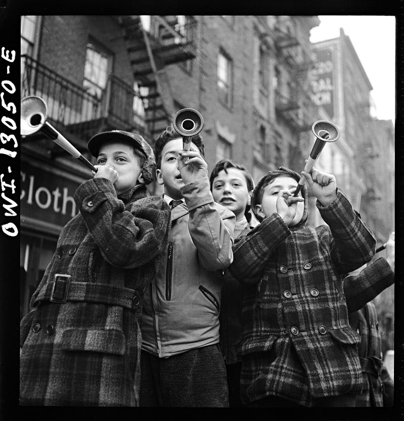 Marjory Collins New York Blowing horns on Bleeker Street on New Year's Day 1943