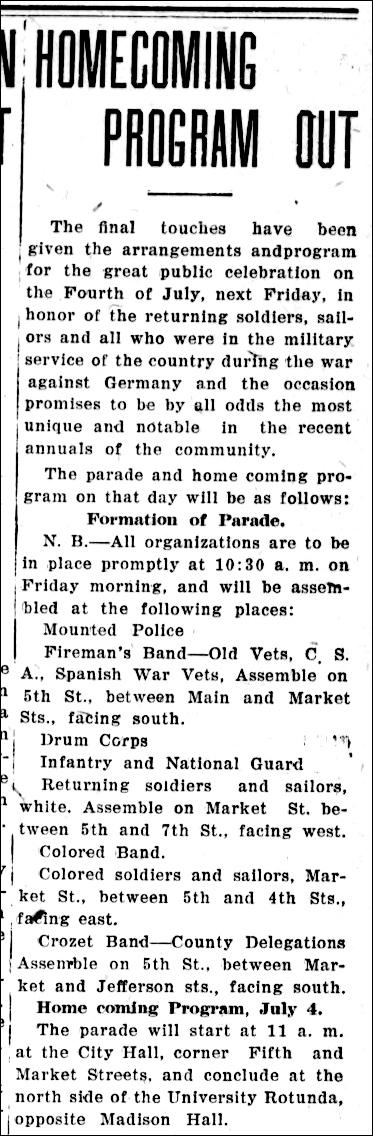 Daily Progress 2  July 1919 WW1 Homecoming Program p 1 part 1